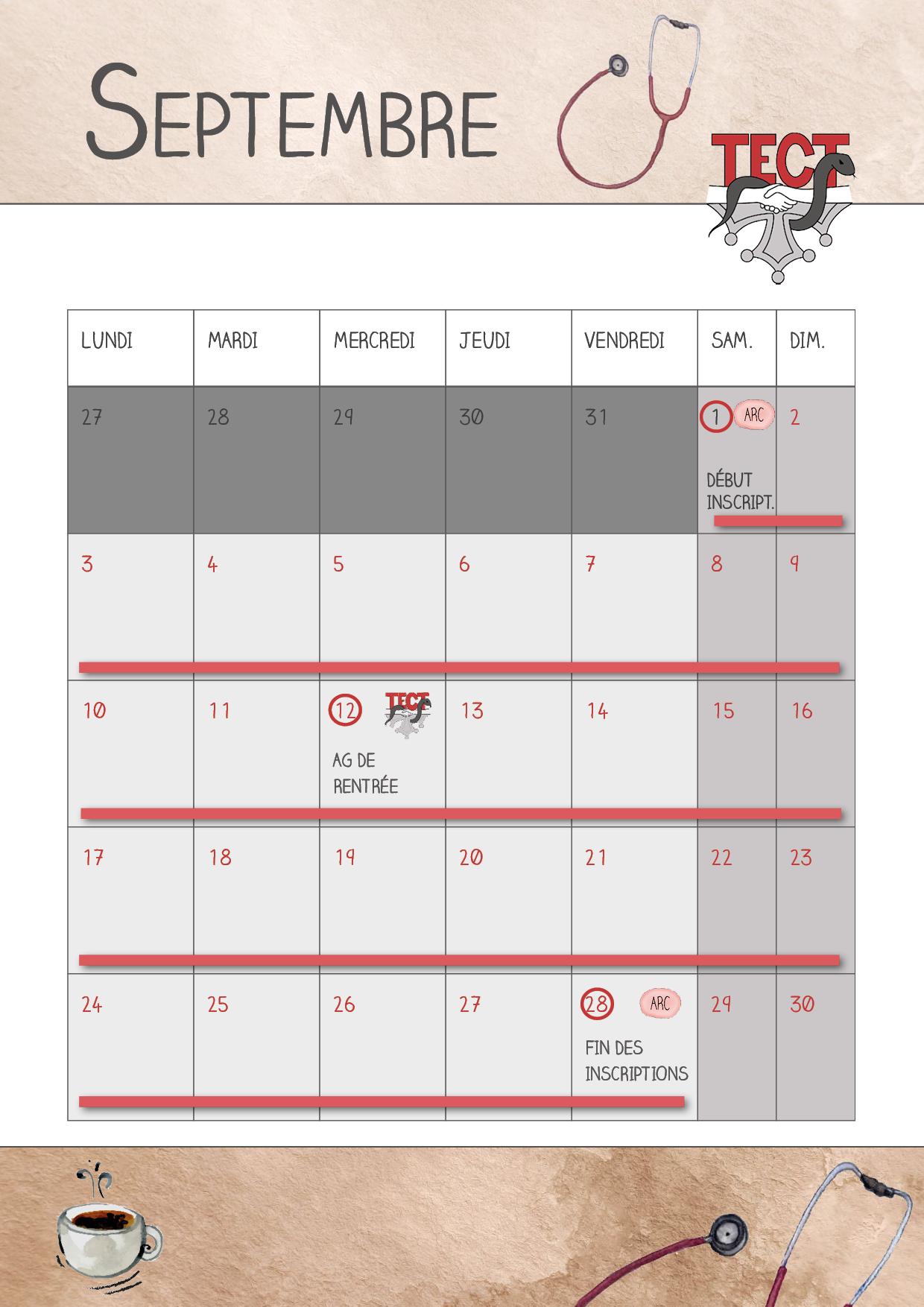 Calendrier – Les actualités du TECT en septembre