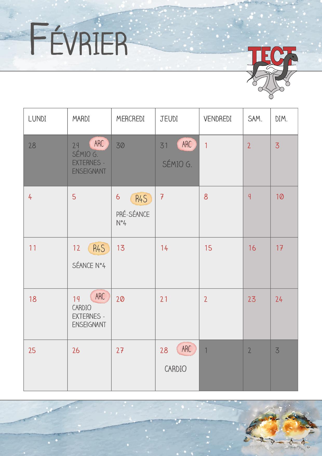 Calendrier – Les actualités du TECT en février